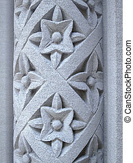 Floral pattern carved into a stone pillar - Simple floral...