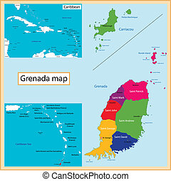 Grenada map - Map of Grenada drawn with high detail and...