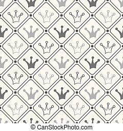 Simple seamless vector pattern with crown Black and white...