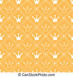 Simple seamless vector pattern with crown. Orange and white...