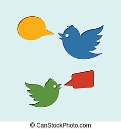 Flying birds with speech bubbles