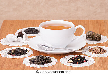 Green, Black And Fruit Loose Tea On Wooden Table