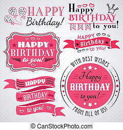 Happy birthday greeting card collection in holiday design...