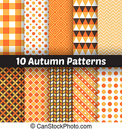 Autumn vector seamless patterns. Endless texture for...
