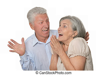 Man happily surprised older woman - Senior man happily...