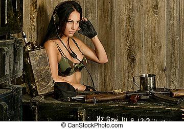 Sexy brunette woman listening radio set - Beautiful sexy...