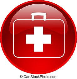 vermelho, primeiro, ajuda, botão