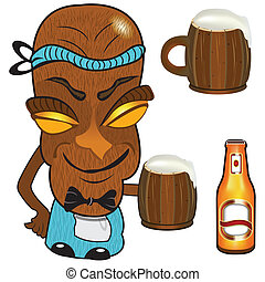 barmen tiki - Vector illustration of a barmen tiki statue...