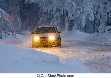 car in winter, Orlicke hory, Czech Republic