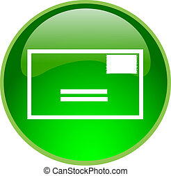 green email button - illustration of a green email button