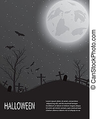 Halloween card with castle, pumkin, bats and moon -...