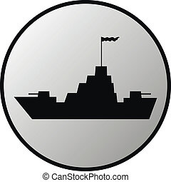 Warship button on white background Vector illustration