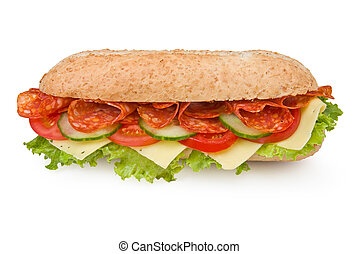 Fresh deli-style salami sandwich isolated on white