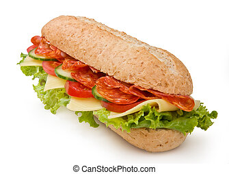 Salami submarine sandwich isolated on white