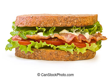 BLT Sandwich isolated on white - Whole wheat toasted BLT...