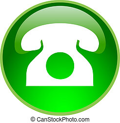 green phone button - illustration of a green phone button