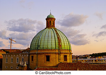 dome of Cathedral sunset Ancona Italy
