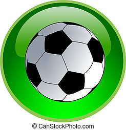 green soccer button - illustration of a green soccer button