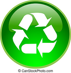 green recycling button - illustration of a green recycling...