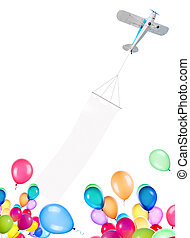 Single engine plane with banner and balloons isolated on a...