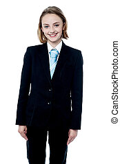 Smiling girl posing in business suit