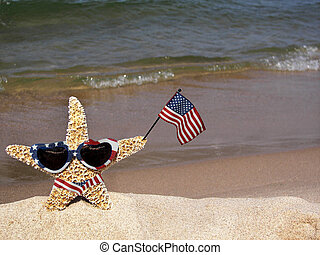 American Star - Starfish holding an American flag