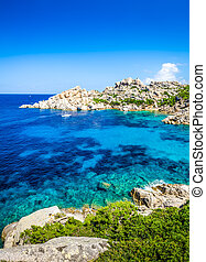 Beautiful rocky ocean bay with turqouise water, Sardinia,...