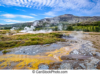 Detail of geothermal active fields in Geysir area, Iceland -...