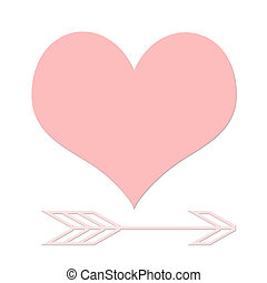 Love heart and cupids arrow - Pink love heart and cupids...