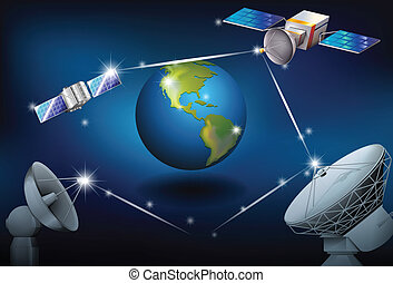 Satellites surrounding the planet Earth - Illustration of...