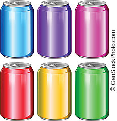Colourful soda cans - Illustration of the colourful soda...