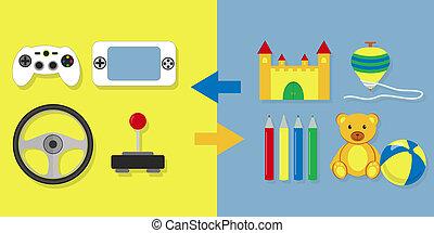 vídeo, juego, contra, otro, juguetes