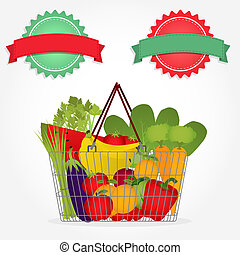 Supermarket basket with vegetables
