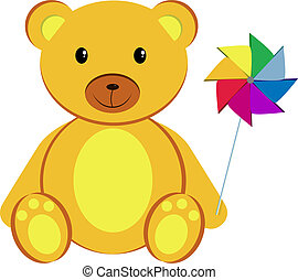 Teddy bear with pinwheel - Teddy bear holding a pinwheel...