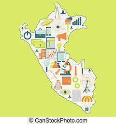 Map of Peru with technology icons