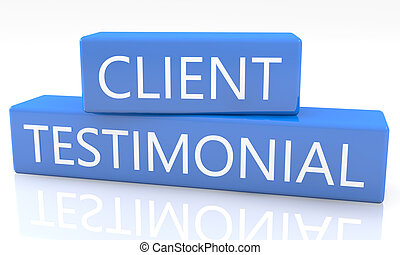 Client Testimonial - 3d render blue box with text Client...