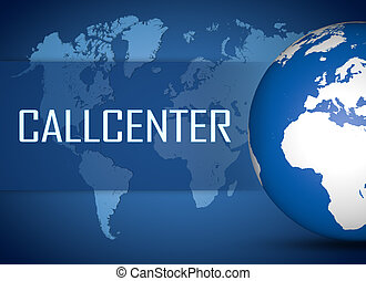 Callcenter concept with globe on blue background