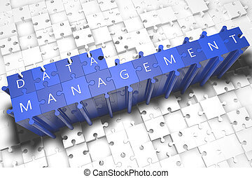 Data Management - puzzle 3d render illustration with block...