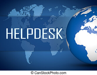 Helpdesk concept with globe on blue background