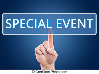 Special Event - Hand pressing Special Event button on...