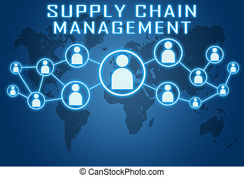 Supply Chain Management concept on blue background with...