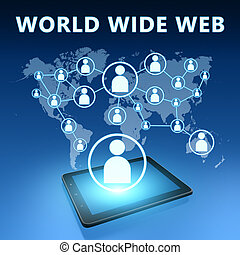 World Wide Web illustration with tablet computer on blue...