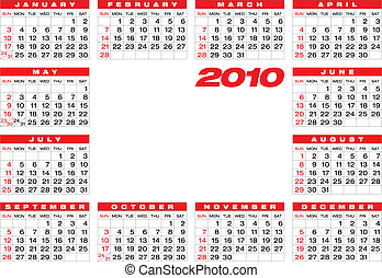 Calendar 2010 - Calendar for year 2010, in vector format