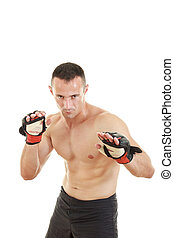 martial fighter with fight gloves and bandage