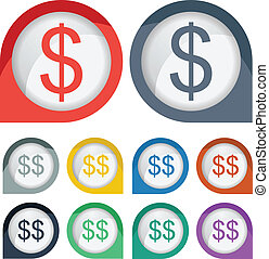 Dollar Sigh Icon Symbol with Colorful Border
