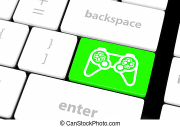 computer keyboard with icon game pad - computer keyboard...