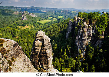 Saxon Switzerland. Elbe river view from the abbey Bastei.