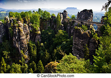 Bastei in Saxon Switzerland - Saxon Switzerland. Elbe river...