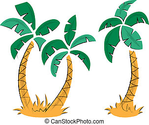 Tropical Palm Trees - Tropical themed illustration featuring...