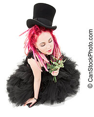top hat and roses - picture of bizarre pink hair girl with...